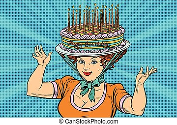 Happy birthday, retro woman and the hat cake, pop art...