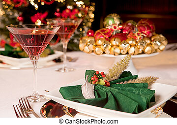 Christmas green napkins 1 - Fancy green napkins and baubles...