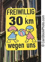 Verkehrsschild Geschwindigkeitsbegrenzung Freiwillig Tempo...