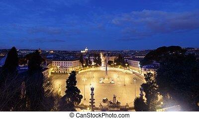 Dawn, Piazza del Popolo, Zoom. Rome, Italy. Time Lapse....