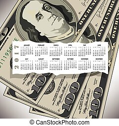 A 2017 calendar with a 100 dollar bill design