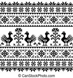Ukrainian or Belarusian, Slavic folk art knitted black...