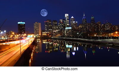 Full Moon over Philadelphia, Pennsylvania - A Full Moon over...