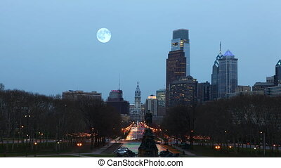 Full Moon rising over Philadelphia - A Full Moon rising over...