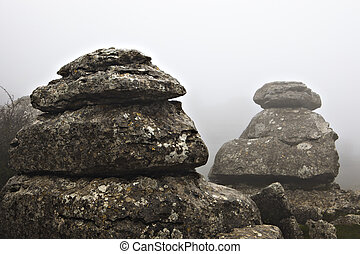 El Torcal De Antequera in the fog, Malaga, Spain. Unusual...