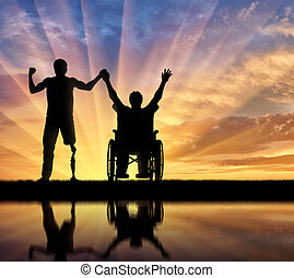 Disabled with prosthesis and in wheelchair holding hands reflection