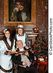 Victorian christmas - Vintage christmas scene of a victorian...