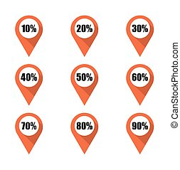 Set of orange map pins with different percentage. Isolated