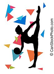 Silhouette of girl doing  gymnastics exercises with ball over geometrical background