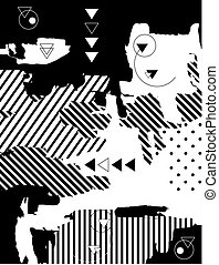 Trendy black-and-white geometrical background. Retro style...