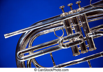 Marching French Horn Isolated on Blue