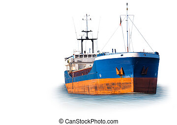 Ship silhouette on sea - Cargo ship isolated on white...