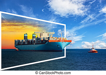 Frame with ship - Container ship on sea of sunrise and day -...