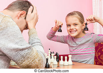 My daughter is happy that the Pope played two pawns and win...