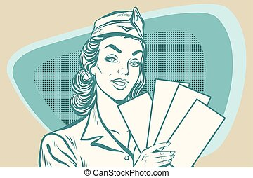 Retro stewardess with ticket. Old illustration. Pop art...