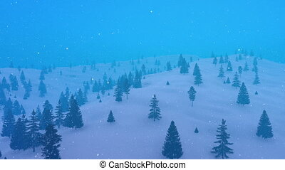 Winter fir forest in mountain at heavy snowfall 4K - Aerial...