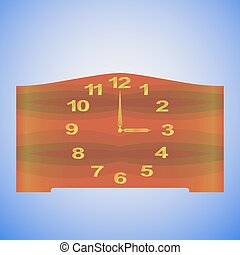 Old-fashioned table clock with gold digits and redwood clock...