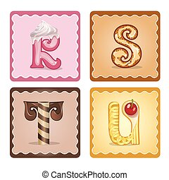 Letters  r,s,t,u  candies