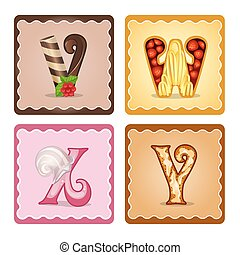 Letters v,w,x,y candies - Cards for children for learning...