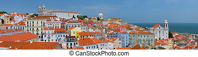 Lisbon and the Tagus river in a sunny summer day - Panorama...