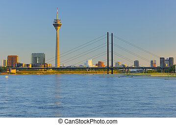 Dusseldorf at sunset time - Cityscape of Dusseldorf at...