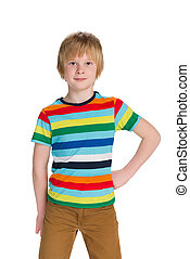 Cute young boy - A portrait of a cute young boy on the white...