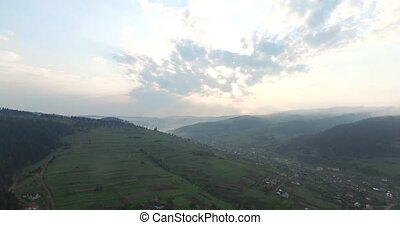 Aerial view. Rising high above the rolling hills - Panoramic...