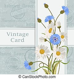 Vintage card with flowers - Beautiful flowers for invitation...