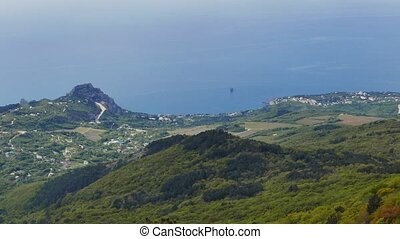 Panorama of the coast of the Crimea. Mountain Cat, Blue Bay....