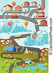 Mountains Road Map Poster
