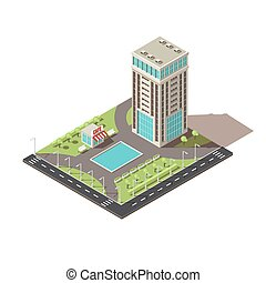 Isometric Office Building Design - Isometric office building...