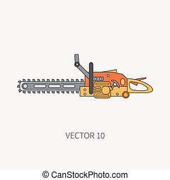 Line flat vector icon with building electrical tool - chainsaw . Construction and repair work. Powerful industrial instrument. Cartoon style. Illustration and element for your design. Engineering.