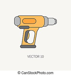 Line flat vector icon with building electrical tool - dryer. Construction and repair work. Powerful industrial instrument. Cartoon style. Illustration and element for your design. Engineering. Work.