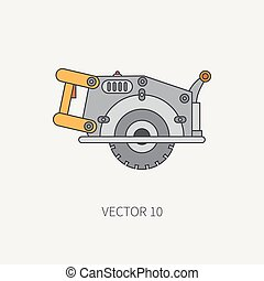 Line flat vector icon with building electrical tool - circular saw . Construction and repair work. Powerful industrial instrument. Cartoon style. Illustration and element for your design. Engineering.