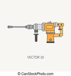Line flat vector icon with building electrical tool - perforator. Construction and repair work. Powerful industrial instrument. Cartoon style. Illustration and element for your design. Engineering.