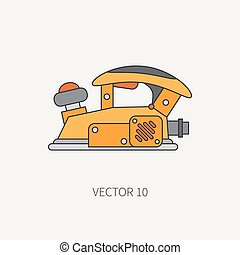 Line flat vector icon with building electrical tool - planer. Construction and repair work. Powerful industrial instrument. Cartoon style. Illustration and element for your design. Engineering. Work.