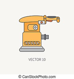Line flat vector icon with building electrical tool - polisher. Construction and repair work. Powerful industrial instrument. Cartoon style. Illustration and element for your design. Engineering.