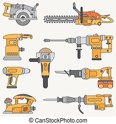 Line flat vector icon set with building electrical tools. Construction and repair work. Powerful industrial instrument. Cartoon style. Vector illustration and element for your design. Engineering.