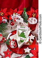 decoración, tabla, navidad