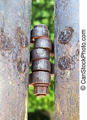 Iron hinge - Vertical photo in color of an old iron hinge...