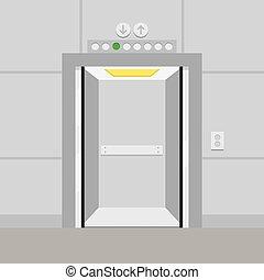 Elevator with opened door