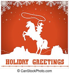 Holiday greetings card with cowboy ride a horse silhouette -...