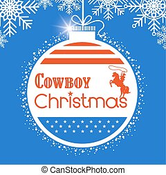 Western Cowboy christmas card background with American flag decoration