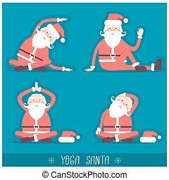 Santa claus doing yoga isolated.Vector christmas card...