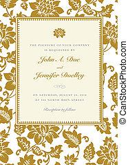 Vector Gold Rose Frame - Vector floral background and frame...