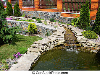 lake in garden - A lake is in a home garden...