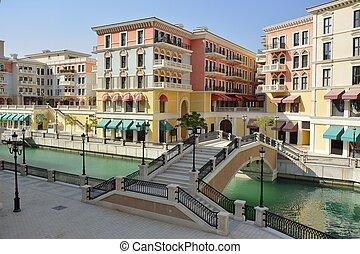 Street view in Qanat Quartier in Doha, Qatar.