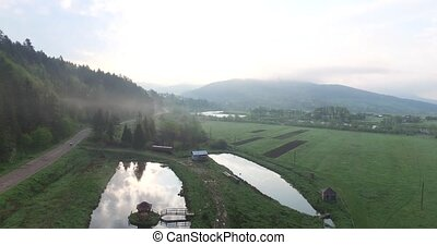 Aerial view. Morning in a beautiful cozy corner of nature -...