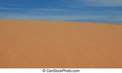 Women's feet walking on a sandy desert - Barefoot women's...