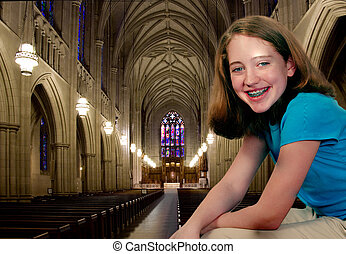 Girl at Church - A girl at a large medieval cathedral